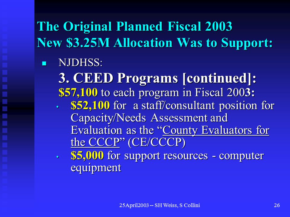 25April2003 -- SH Weiss, S Collini26 The Original Planned Fiscal 2003 New $3.25M Allocation Was to Support: NJDHSS: NJDHSS: 3.