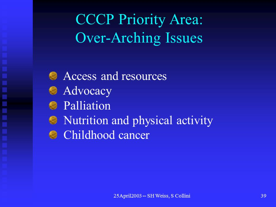 25April2003 -- SH Weiss, S Collini39 CCCP Priority Area: Over-Arching Issues Access and resources Advocacy Palliation Nutrition and physical activity Childhood cancer