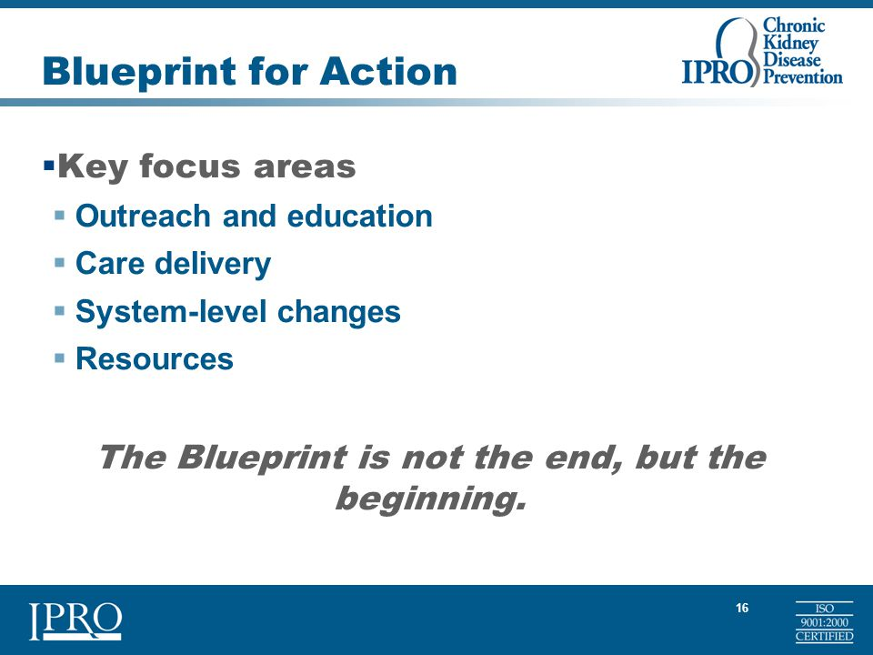 16 Blueprint for Action  Key focus areas  Outreach and education  Care delivery  System-level changes  Resources The Blueprint is not the end, but the beginning.