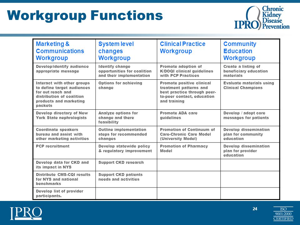 24 Workgroup Functions Marketing & Communications Workgroup System level changes Workgroup Clinical Practice Workgroup Community Education Workgroup Develop/identify audience appropriate message Identify change opportunities for coalition and their implementation Promote adoption of K/DOQI clinical guidelines with PCP Practices Create a listing of beneficiary education materials Interact with other groups to define target audiences for out reach and distribution of coalition products and marketing packets Options for achieving change Promote positive clinical treatment patterns and best practice through peer- to-peer contact, education and training Evaluate materials using Clinical Champions Develop directory of New York State nephrologists Analyze options for change and there feasibility Promote ADA care guidelines Develop / adopt core messages for patients Coordinate speakers bureau and assist with other marketing activities Outline implementation steps for recommended changes Promotion of Continuum of Care-Chronic Care Model (University Model) Develop dissemination plan for community education PCP recruitmentDevelop statewide policy & regulatory improvement Promotion of Pharmacy Model Develop dissemination plan for provider education Develop data for CKD and its impact in NYS Support CKD research Distribute CMS-CQI results for NYS and national benchmarks Support CKD patients needs and activities Develop list of provider participants.