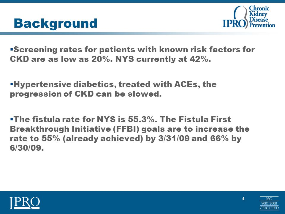 4 Background  Screening rates for patients with known risk factors for CKD are as low as 20%.
