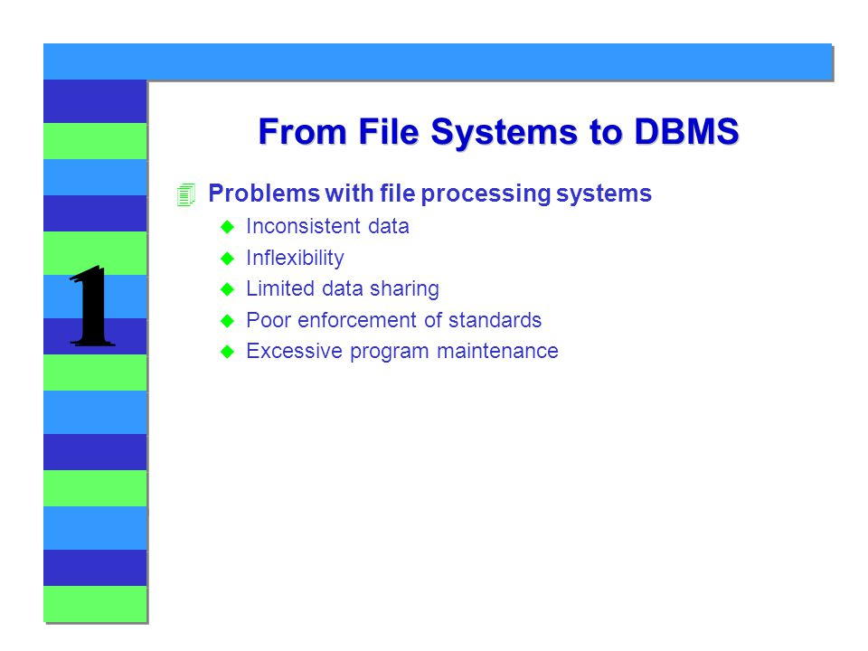 1 1 From File Systems to DBMS 4Problems with file processing systems u Inconsistent data u Inflexibility u Limited data sharing u Poor enforcement of standards u Excessive program maintenance