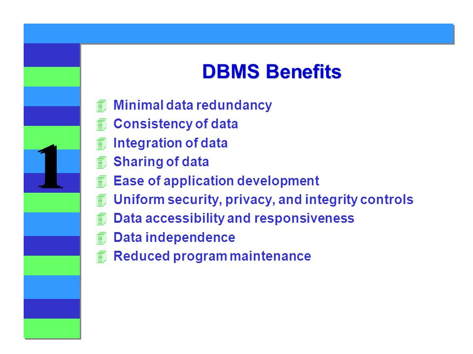 1 1 DBMS Benefits 4Minimal data redundancy 4Consistency of data 4Integration of data 4Sharing of data 4Ease of application development 4Uniform security, privacy, and integrity controls 4Data accessibility and responsiveness 4Data independence 4Reduced program maintenance