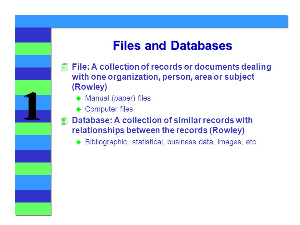 1 1 Files and Databases 4File: A collection of records or documents dealing with one organization, person, area or subject (Rowley) u Manual (paper) files u Computer files 4Database: A collection of similar records with relationships between the records (Rowley) u Bibliographic, statistical, business data, images, etc.