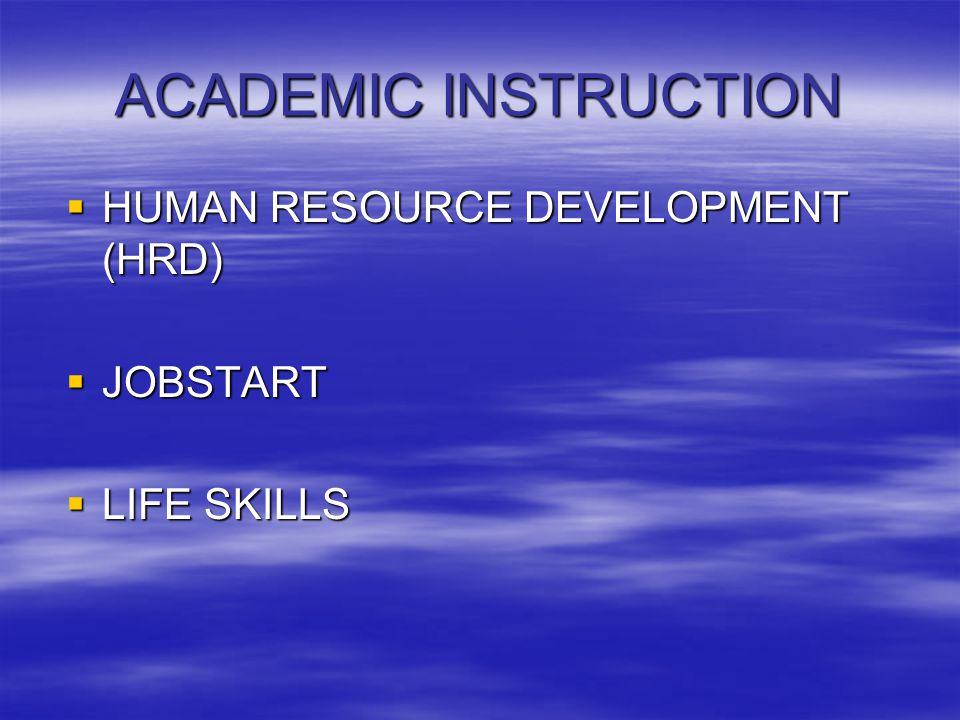 ACADEMIC INSTRUCTION  HUMAN RESOURCE DEVELOPMENT (HRD)  JOBSTART  LIFE SKILLS