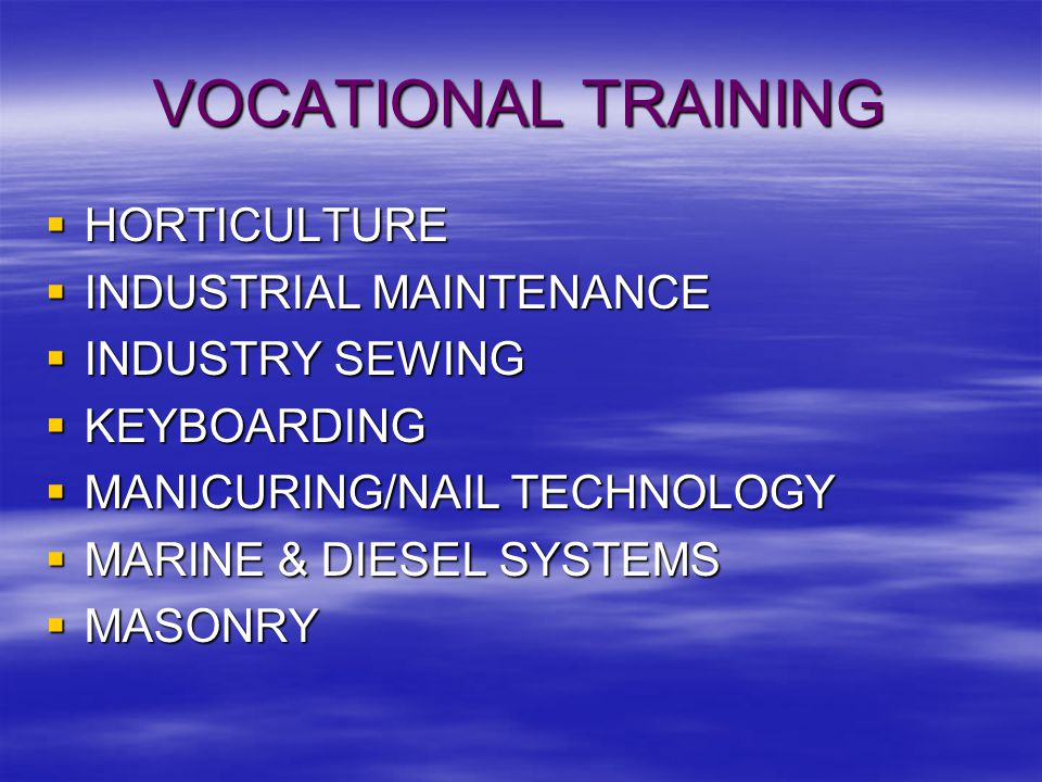 VOCATIONAL TRAINING  HORTICULTURE  INDUSTRIAL MAINTENANCE  INDUSTRY SEWING  KEYBOARDING  MANICURING/NAIL TECHNOLOGY  MARINE & DIESEL SYSTEMS  MASONRY