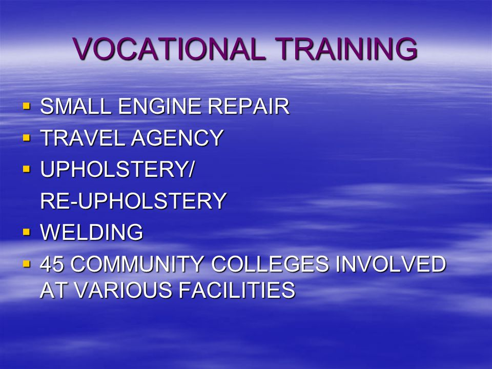 VOCATIONAL TRAINING  SMALL ENGINE REPAIR  TRAVEL AGENCY  UPHOLSTERY/ RE-UPHOLSTERY  WELDING  45 COMMUNITY COLLEGES INVOLVED AT VARIOUS FACILITIES