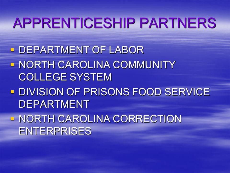 APPRENTICESHIP PARTNERS  DEPARTMENT OF LABOR  NORTH CAROLINA COMMUNITY COLLEGE SYSTEM  DIVISION OF PRISONS FOOD SERVICE DEPARTMENT  NORTH CAROLINA CORRECTION ENTERPRISES