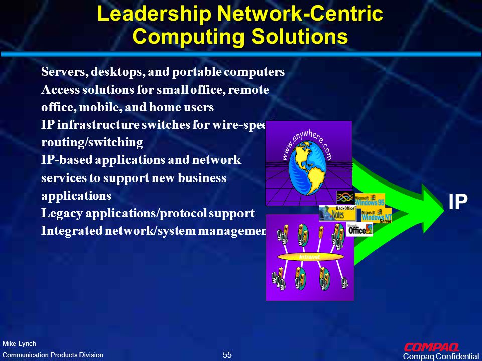 Compaq Confidential Mike Lynch Communication Products Division 54 Compaq's Network-Centric Computing Compaq's network-centric computing is a comprehensive end-to-end networking vision for providing leadership performance, applications access, manageability and reduced complexity that spans from desktop to server, and from the customer premise through the network service provider.