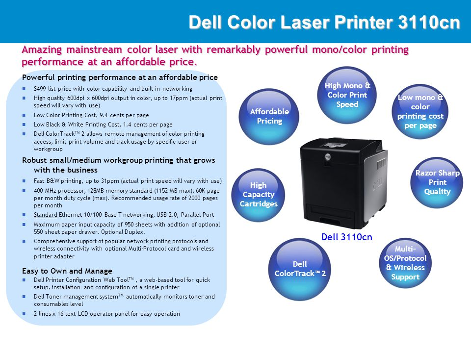 DellImaging Dell 3110cn - Front Features Dedicated Menu and Cancel Button 250 sheet drawer LCD Display (2 line x 16 char) Access Cover / Cartridge Installation 150 sheet Multi- Purpose Tray