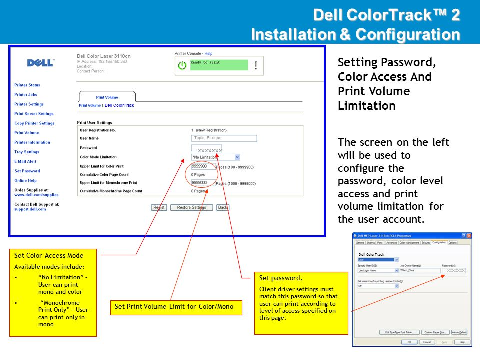 DellImaging Setting Password, Color Access And Print Volume Limitation The screen on the left will be used to configure the password, color level access and print volume limitation for the user account.