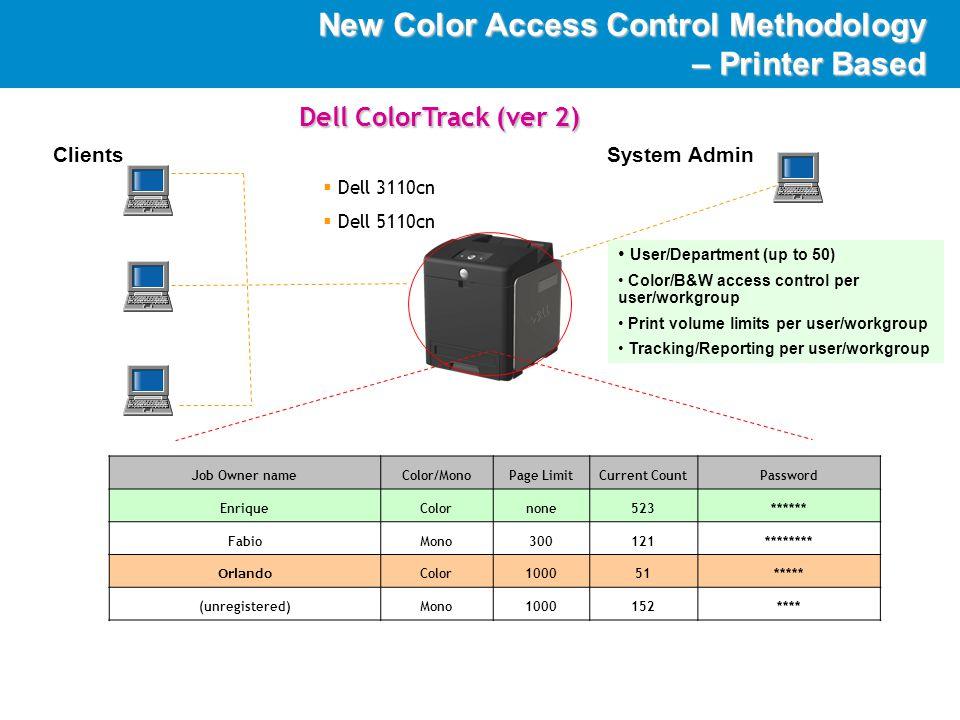 DellImaging New Color Access Control Methodology – Printer Based ClientsSystem Admin Job Owner nameColor/MonoPage LimitCurrent CountPassword EnriqueColornone523****** FabioMono300121******** Orlando Color 1000 51 ***** (unregistered)Mono 1000 152 **** User/Department (up to 50) Color/B&W access control per user/workgroup Print volume limits per user/workgroup Tracking/Reporting per user/workgroup  Dell 3110cn  Dell 5110cn Dell ColorTrack (ver 2)