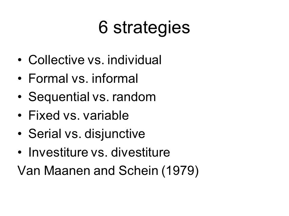 6 strategies Collective vs. individual Formal vs.