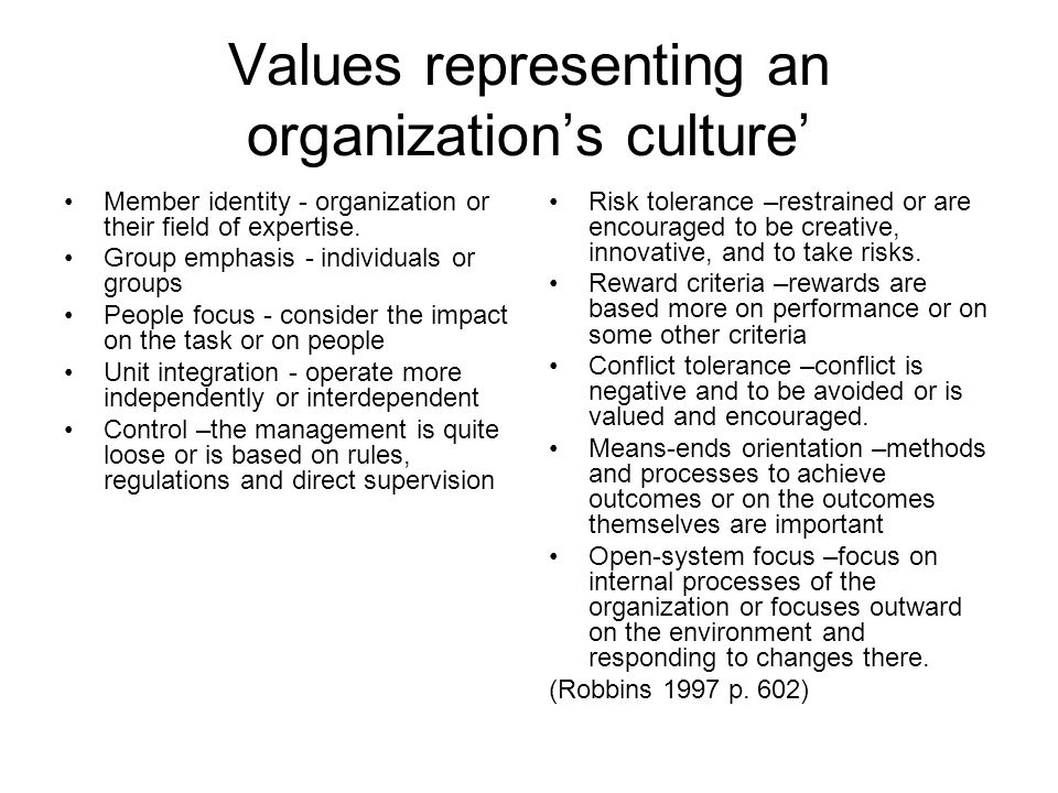 Values representing an organization's culture' Member identity - organization or their field of expertise.