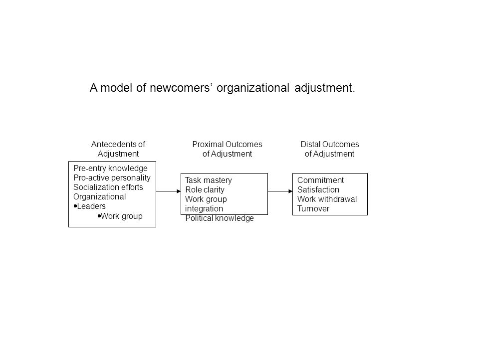 Proximal Outcomes of Adjustment Distal Outcomes of Adjustment Antecedents of Adjustment Task mastery Role clarity Work group integration Political knowledge Commitment Satisfaction Work withdrawal Turnover Pre-entry knowledge Pro-active personality Socialization efforts Organizational  Leaders  Work group A model of newcomers' organizational adjustment.