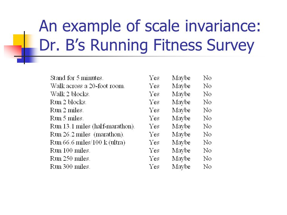 An example of scale invariance: Dr. B's Running Fitness Survey