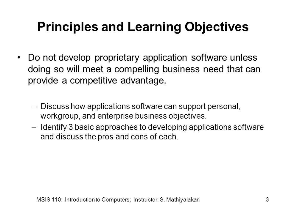 MSIS 110: Introduction to Computers; Instructor: S. Mathiyalakan34 Database Applications