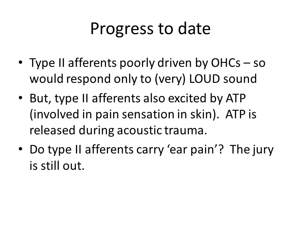Progress to date Type II afferents poorly driven by OHCs – so would respond only to (very) LOUD sound But, type II afferents also excited by ATP (involved in pain sensation in skin).