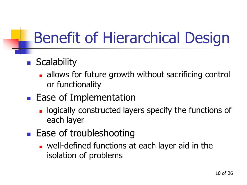 10 of 26 Benefit of Hierarchical Design Scalability allows for future growth without sacrificing control or functionality Ease of Implementation logic