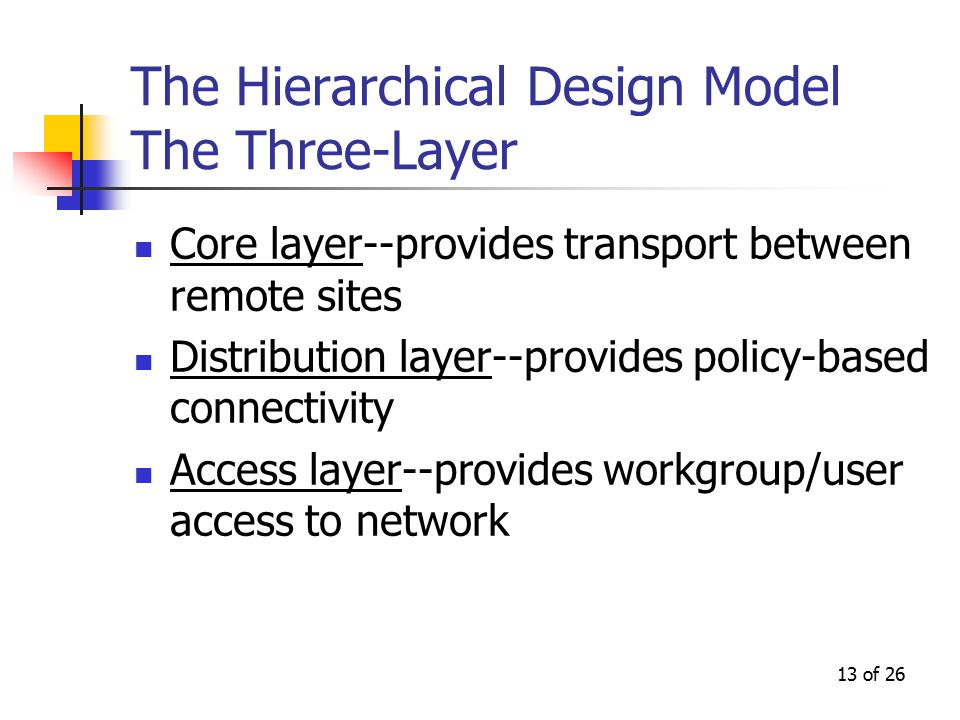 13 of 26 The Hierarchical Design Model The Three-Layer Core layer--provides transport between remote sites Distribution layer--provides policy-based connectivity Access layer--provides workgroup/user access to network