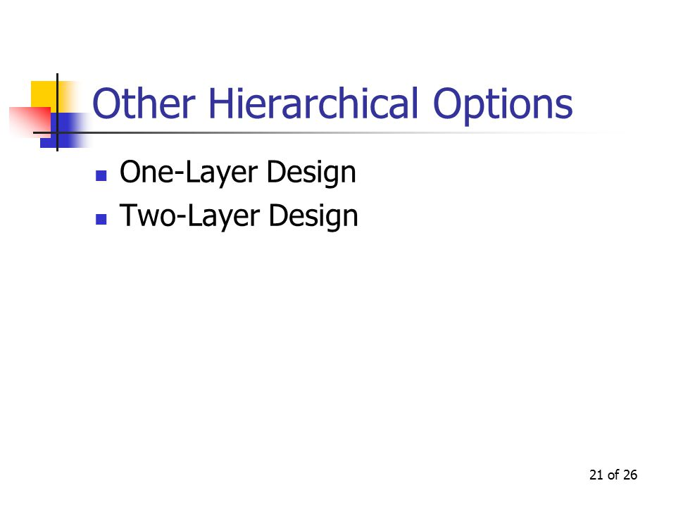 21 of 26 Other Hierarchical Options One-Layer Design Two-Layer Design