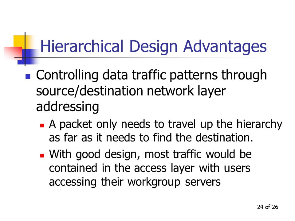 24 of 26 Hierarchical Design Advantages Controlling data traffic patterns through source/destination network layer addressing A packet only needs to travel up the hierarchy as far as it needs to find the destination.