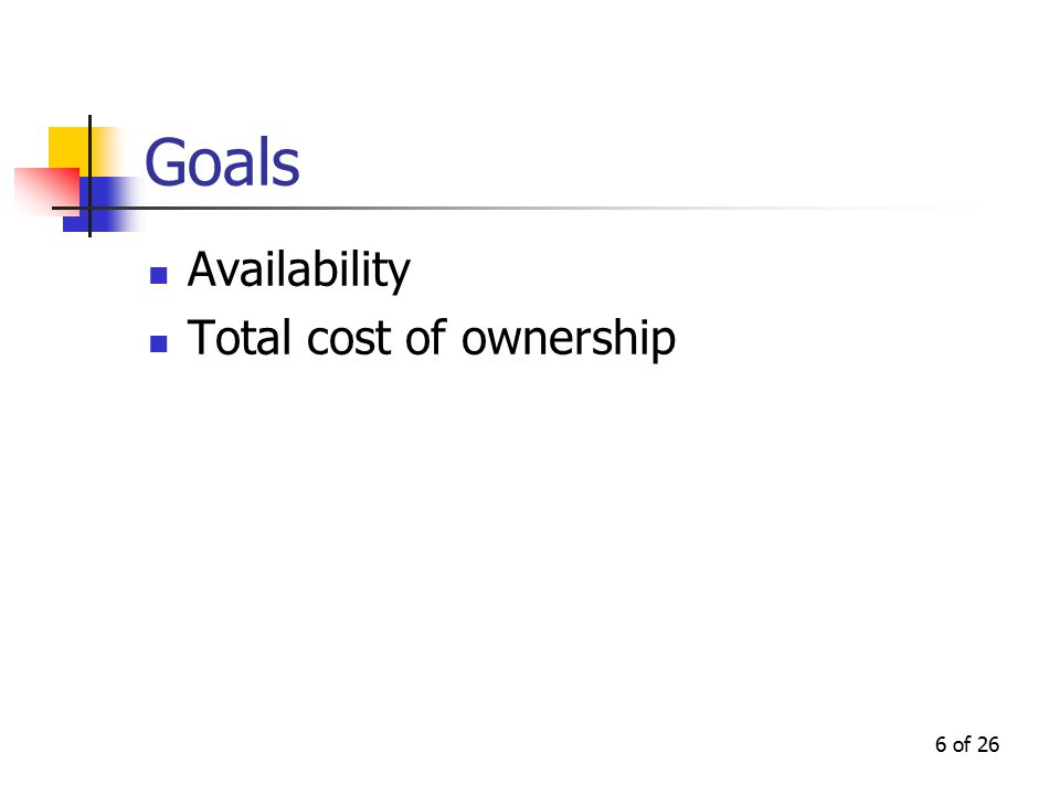 6 of 26 Goals Availability Total cost of ownership