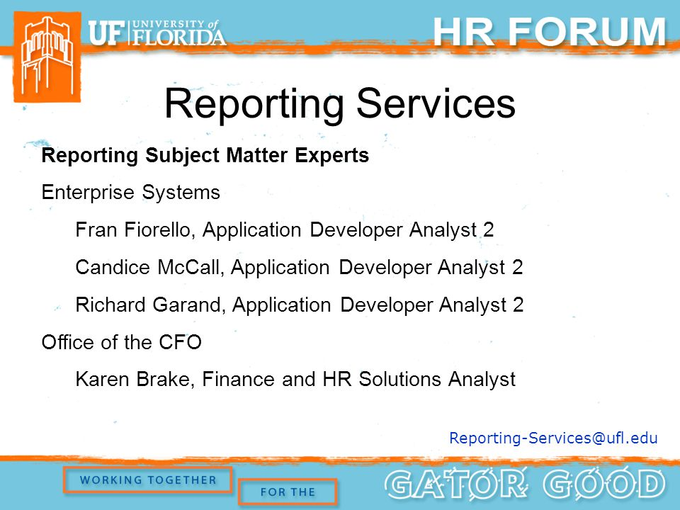 Reporting Subject Matter Experts Enterprise Systems Fran Fiorello, Application Developer Analyst 2 Candice McCall, Application Developer Analyst 2 Richard Garand, Application Developer Analyst 2 Office of the CFO Karen Brake, Finance and HR Solutions Analyst Reporting Services Reporting-Services@ufl.edu