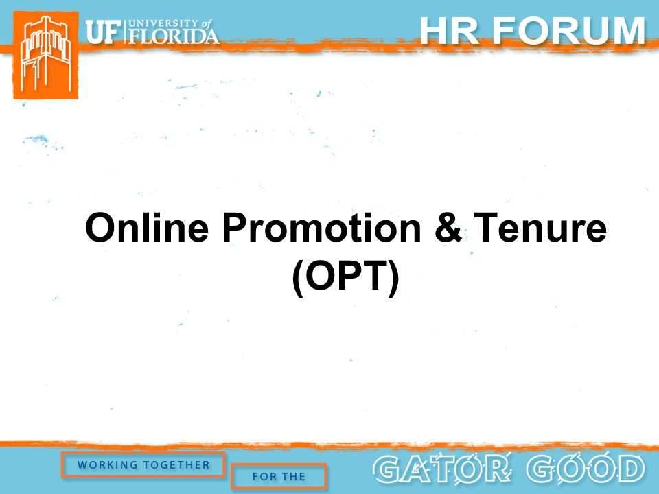 Online Promotion & Tenure (OPT)