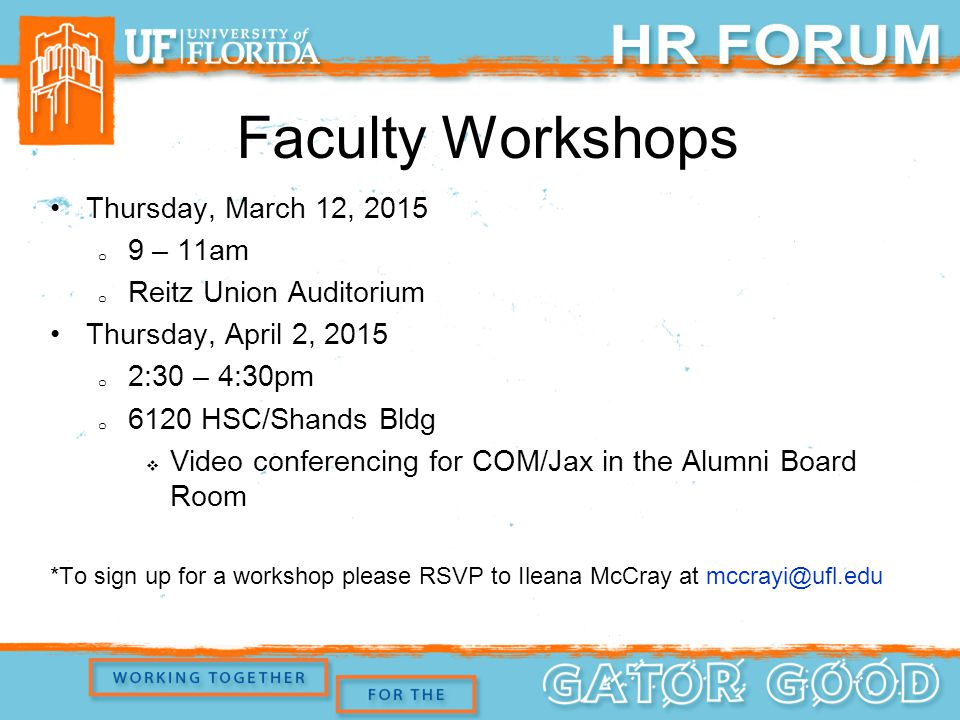 Faculty Workshops Thursday, March 12, 2015 o 9 – 11am o Reitz Union Auditorium Thursday, April 2, 2015 o 2:30 – 4:30pm o 6120 HSC/Shands Bldg  Video conferencing for COM/Jax in the Alumni Board Room *To sign up for a workshop please RSVP to Ileana McCray at mccrayi@ufl.edu