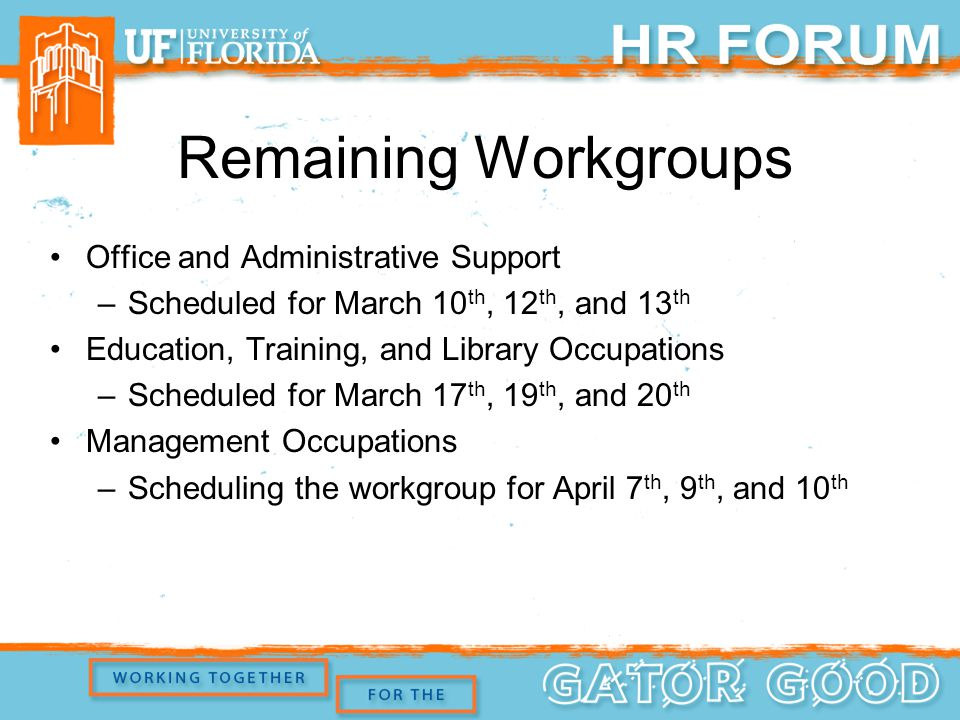 Remaining Workgroups Office and Administrative Support –Scheduled for March 10 th, 12 th, and 13 th Education, Training, and Library Occupations –Scheduled for March 17 th, 19 th, and 20 th Management Occupations –Scheduling the workgroup for April 7 th, 9 th, and 10 th