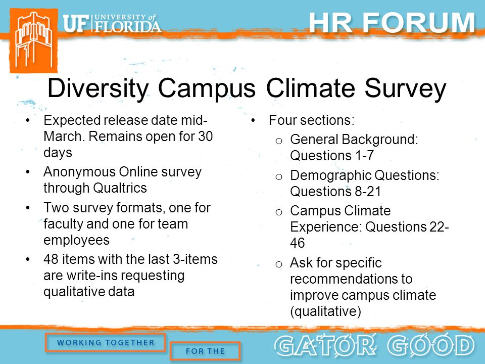 Diversity Campus Climate Survey Expected release date mid- March.