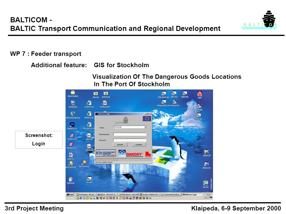 BALTICOM - BALTIC Transport Communication and Regional Development WP 7 :Feeder transport Additional feature:GIS for Stockholm Visualization Of The Dangerous Goods Locations In The Port Of Stockholm Klaipeda, 6-9 September 2000 3rd Project Meeting Screenshot: Login
