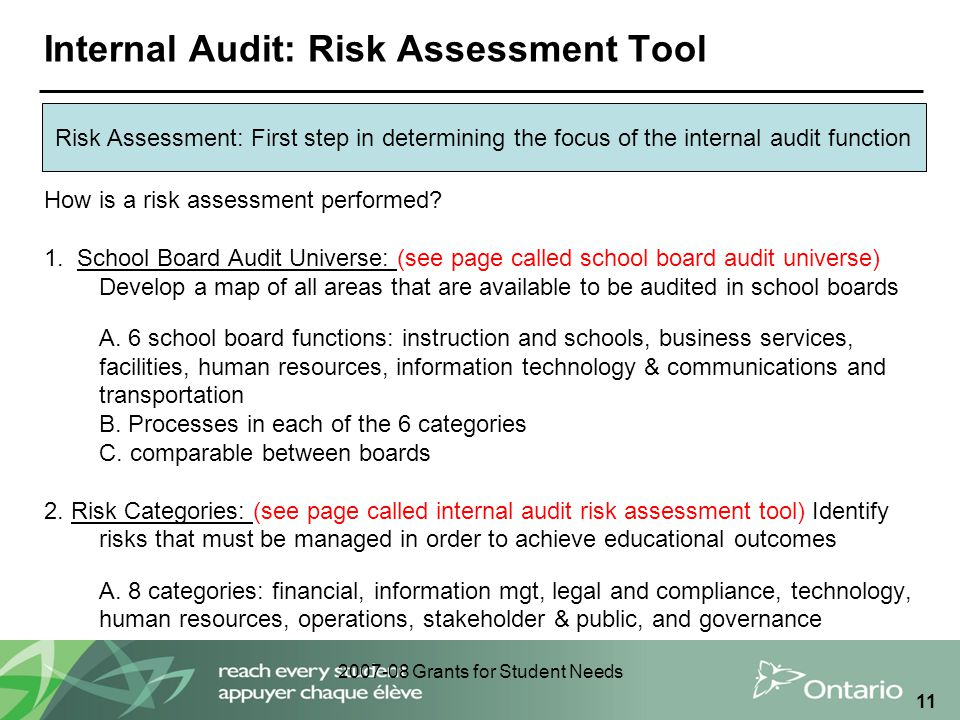 2007-08 Grants for Student Needs 11 Internal Audit: Risk Assessment Tool Risk Assessment: First step in determining the focus of the internal audit function How is a risk assessment performed.