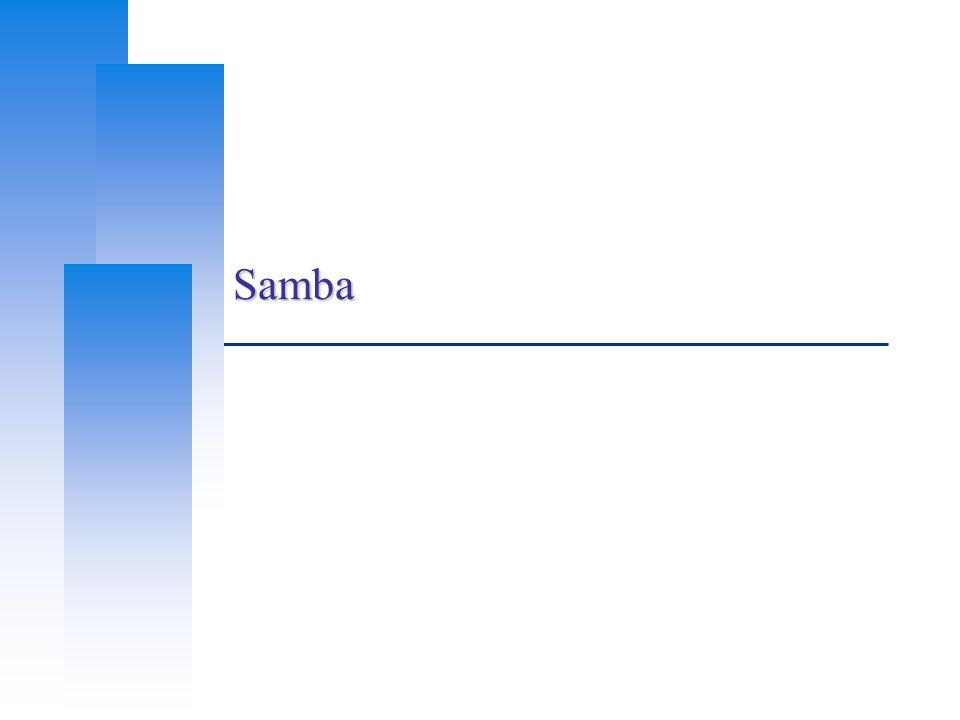 Computer Center, CS, NCTU 12 SAMBA password  samba password file Now samba stores accounts and passwords in tdb  Default database path: /var/db/samba  tdb v.s.