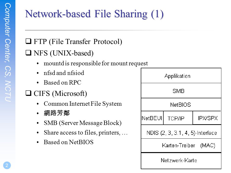 Computer Center, CS, NCTU 2 Network-based File Sharing (1)  FTP (File Transfer Protocol)  NFS (UNIX-based) mountd is responsible for mount request nfsd and nfsiod Based on RPC  CIFS (Microsoft) Common Internet File System 網路芳鄰 SMB (Server Message Block) Share access to files, printers, … Based on NetBIOS