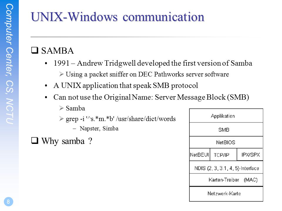 Computer Center, CS, NCTU 9 What SAMBA can do.