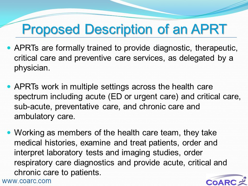 Degree Completion vs Entry Into Profession www.coarc.com Degree completion programs are different from entry into respiratory care professional practice programs in purpose, design and content.