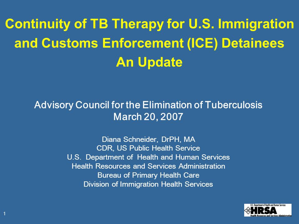 1 Continuity of TB Therapy for U.S.
