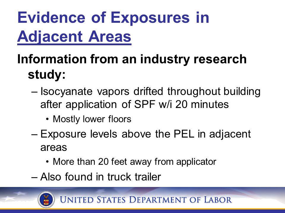 Evidence of Exposures in Adjacent Areas Information from an industry research study: –Isocyanate vapors drifted throughout building after application of SPF w/i 20 minutes Mostly lower floors –Exposure levels above the PEL in adjacent areas More than 20 feet away from applicator –Also found in truck trailer