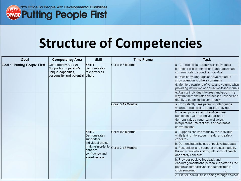 Structure of Competencies 10 GoalCompetency AreaSkillTime FrameTask Goal 1. Putting People First Competency Area A: Supporting a person's unique capac