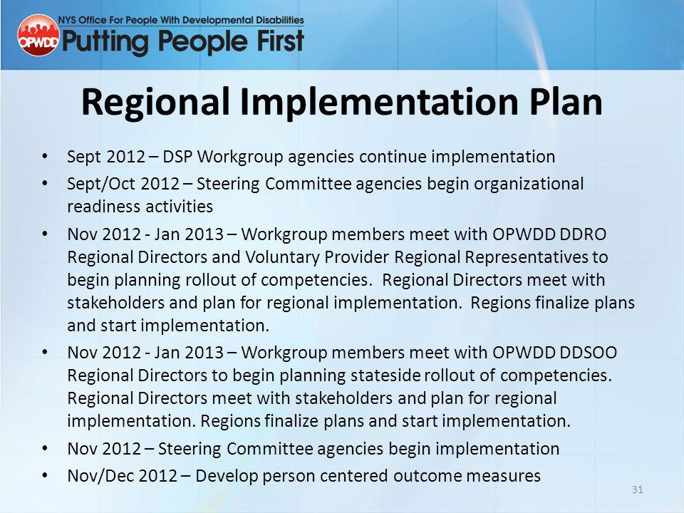 Regional Implementation Plan Sept 2012 – DSP Workgroup agencies continue implementation Sept/Oct 2012 – Steering Committee agencies begin organization