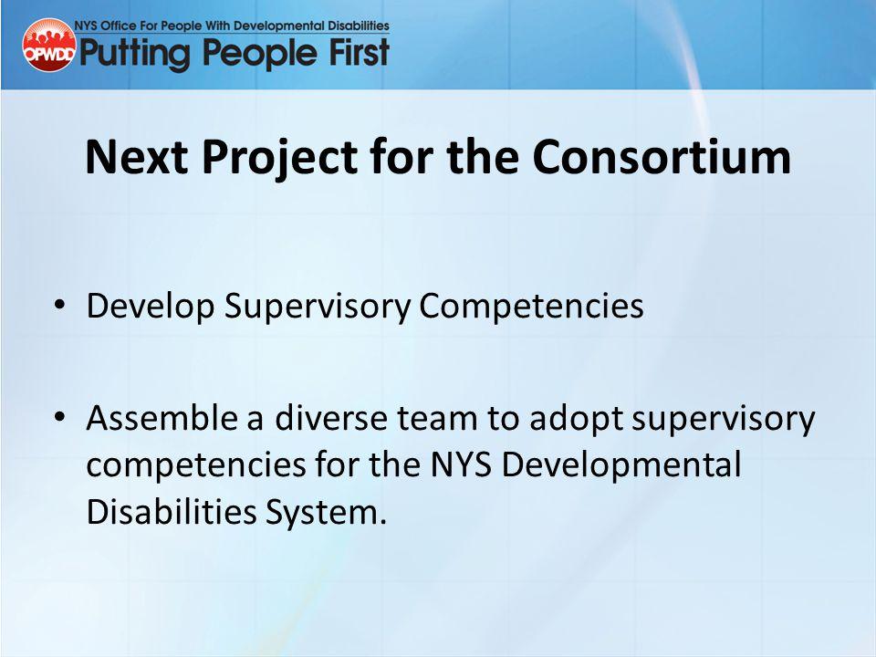 Next Project for the Consortium Develop Supervisory Competencies Assemble a diverse team to adopt supervisory competencies for the NYS Developmental D