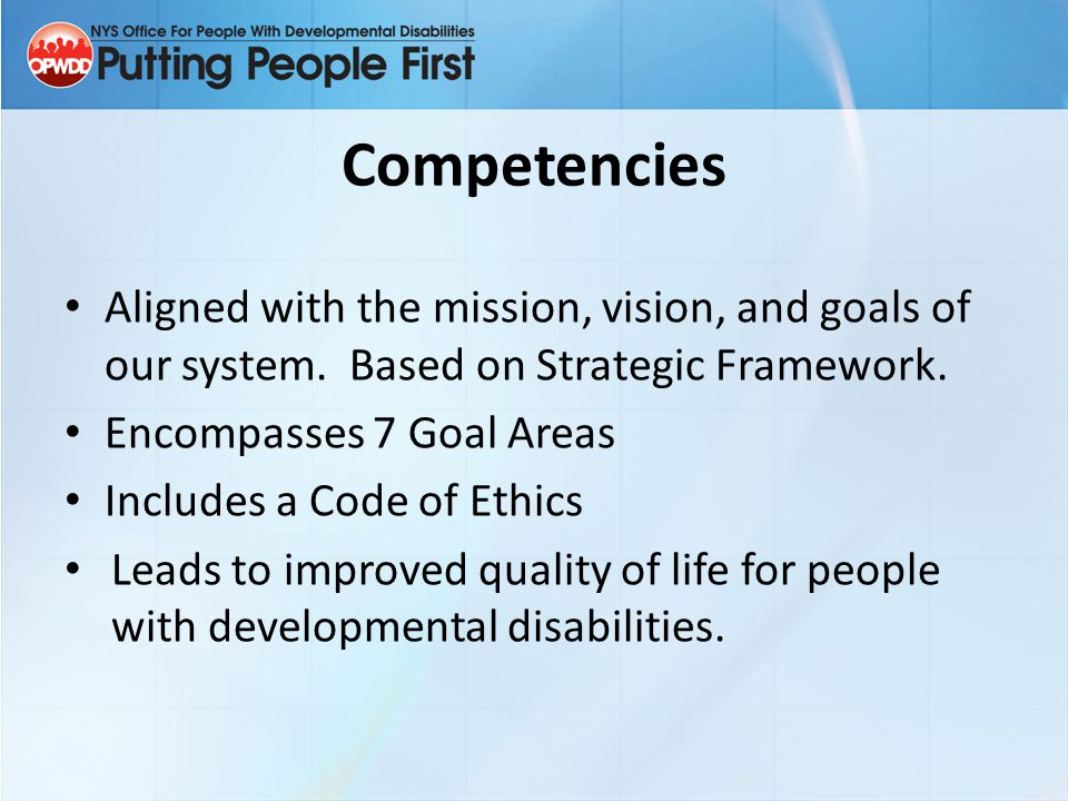 Competency Structure Goal Statement Competency Areas Skill Statements Tasks