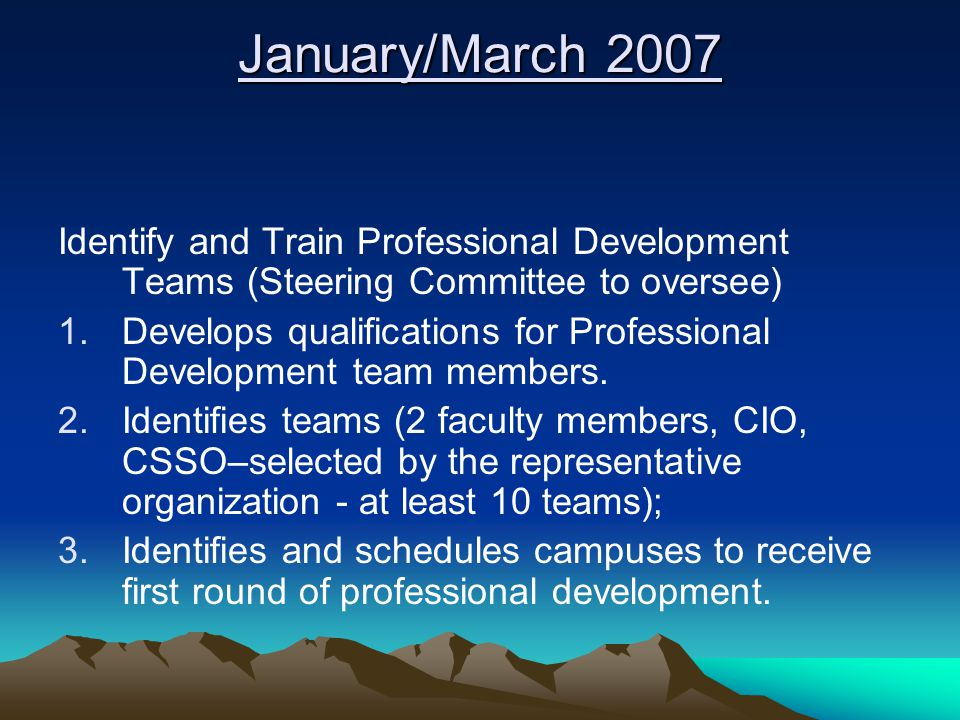 January/March 2007 Identify and Train Professional Development Teams (Steering Committee to oversee) 1.Develops qualifications for Professional Development team members.