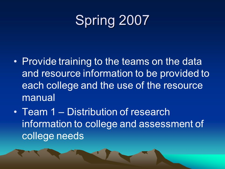 Spring 2007 Provide training to the teams on the data and resource information to be provided to each college and the use of the resource manual Team 1 – Distribution of research information to college and assessment of college needs