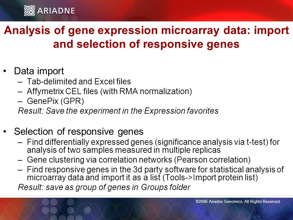 ©2006 Ariadne Genomics. All Rights Reserved. 88 ©2006 Ariadne Genomics.