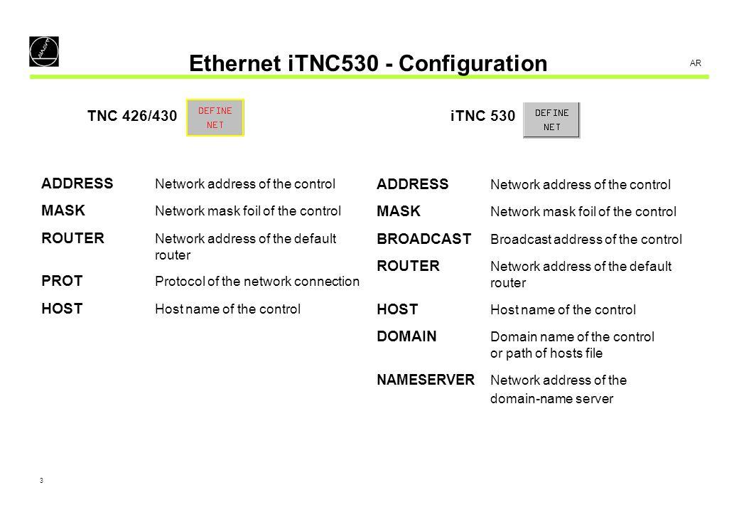 4 AR Ethernet iTNC530 - Configuration Configuration example – DEFINE NET: TNC 426/430 ADDRESSMASKROUTERPROTHOST 160.1.7.58255.255.0.0160.1.254.2RFCTNC01 iTNC 530 ADDRESSMASKBROADCASTROUTERHOSTDOMAIN NAMESERVER 160.1.7.58255.255.0.0160.1.255.255160.1.254.2TNC01