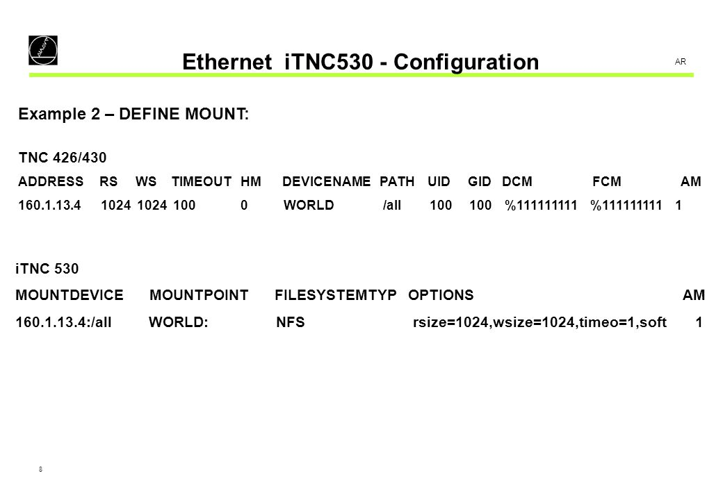 9 AR Ethernet iTNC530 - Configuration Example 3 – Use of alias name: DEFINE NET: ADDRESSMASKBROADCASTROUTERHOSTDOMAIN NAMESERVER 160.1.7.58255.255.0.0160.1.255.255160.1.254.2TNC01PLC:\HOSTS DEFINE MOUNT: MOUNTDEVICE MOUNTPOINT FILESYSTEMTYP OPTIONS AM PC1432:/all PC1432: NFS 0