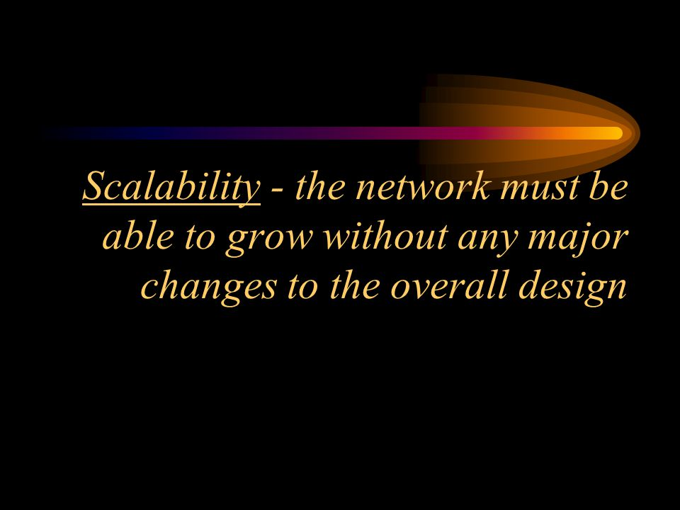 Adaptability - the network should include no element that would limit use of new technologies as they become available
